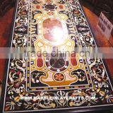 Inlaid Marble Stone Table Top, Pietra Dura Inlay Dining Table Top