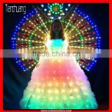 Color change glow in the dark dresses,light up colorful muslim wedding dress,led wedding long dress