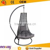 Hot sale black PE wicker leisure garden rattan furniture single seat swing chair                                                                         Quality Choice