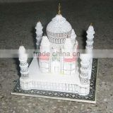 Handcrafted collectible Alabaster Marble Made Replica Taj Mahal, Designer Mughal Art Unique Home Decor Gift Traditional Tajmahal