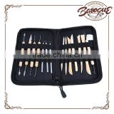 14 pcs set professional wooden clay craving set, artist pottery tool kits, canvas bag sculpting tool sets