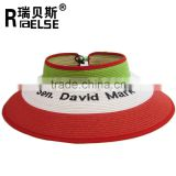 Customized promotioanl girl lady beach sun visor hat foldable roll up wide brim straw hat