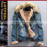 Fashion Mens Slim Fur Collar Denim Washed Jean Jacket Plus velvet Coat Outerweart (LOTJ333)