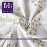 Wholesale embroidery lace fabric with golden flower, raw cloth cotton fabric for garments