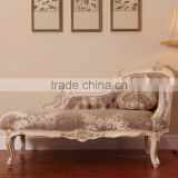 Luxury French Rococo Style Mahogany Wood Living Room Chaise Lounge/Fabric Daybed Couch/ Carving Chaise Lounge Chair