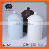 ceramic canister with lid,Hot sale fresh decal ceramic tea coffee sugar jar set with wood stand