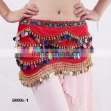 Exotic belly dance coins belt paillettes sequins hip scarf for belly dance