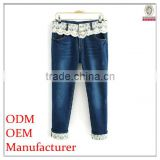young lady prefer stylish/fashionable trousers jeans with lace and foldable hem