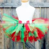 HOT SALE holiday sale girls fluffy ribbon santa skirt baby red and green tutu christmas petti tutu