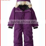 Girls wearing overalls winter with heavy padding fleece lined made in China