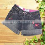 Fashion design cotton girl baby jeans/denim short