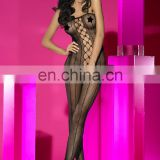 Fishnet sexy lingerie stripe open crotch bodystocking with rhinestones adult leotard catsuit full body stockings