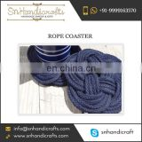 Easy Clean Navy Blue Hand Tied Nautical Cotton Rope Coaster