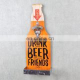 Stock Mix style Vintage Zinc Alloy Wall Wooden Mounted Beer Bottle Opener with Cap Holder
