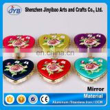 Chinese wedding style elegant embroidery heart shaped mirror for souvenir