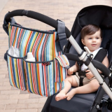 Stripe diaper bag with two outside pockets and long shoulder