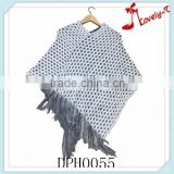 2015latest design nets style girl's pullover crochet knit poncho sweater with tassels for wholesale
