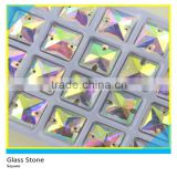 SS8/SS10/SS12/SS16 AB Square Glass Material Stone Sew on Flat Back Pointfaced Crystal Stone