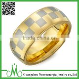 High quality new design gold finger ring fashion gold plated tungsten ring for men gold filled jewelry