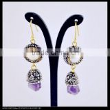 LFD-053E Wholesale Gold Plated Pearl With Amethyst Pave Rhinestone Crystal Earrings Jewelry Finding