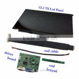 "12.5"" Tablet Lcd with Customized Board Kits for multiple application with 700:1 contrast"
