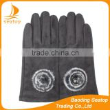 Women classic black faux suede gloves with rabbit fur ball