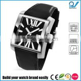 Build your watch brand easily square case best women watch brand stainless steel genuine leather strap