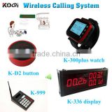 Service Call Bell Pager System 433mhz Wrist Watch Receiver Table Buzzer Button With 2-key