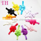 baby hair accessories elastic multi-colors satin ribbon bow foe elastic headband or hair band