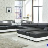 China made modern commercial wooden black leather sectional sofa 2015 3313                                                                         Quality Choice