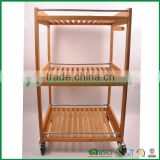 Clear bamboo trolley cart for kitchen & reataurant