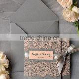Embossed Tri-fold vintage wedding invitations with Ribbon Bow & Printing