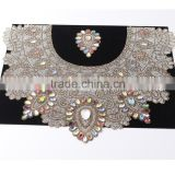 Garment accessories hot fix beaded rhinestone neckline Crystal glass Appliques neck lace collar For Dresses