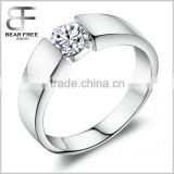 Simple Style 925 Sterling Silver Men's Wedding Engagement Watch band Ring with Clear Cubic Zirconia