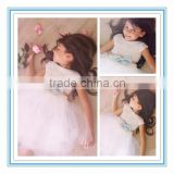 Latest Ball Gown Cap Sleeves White Tulle Layers Knee Length Custom Made Flower Girl Dresses 2015(DMTU-FG11)