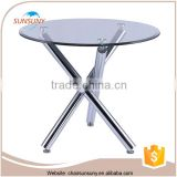 High quality metal frame glass top wholesale small dining table