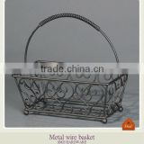 Metal wrought iron wire gift basket