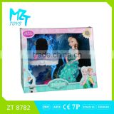 2016 New !Eco-friendly PVC11 Inch movable joints Elsa and Anna princess+dressing table+accessories Barbie Doll(2 model mixed)