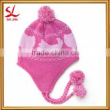 Wholesale Warm Fleece Earflap Beanie Cheap Pink Acrylic Knitted Winter Baby Hat Supplier