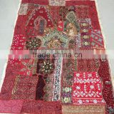 Tribal Ethnic Vintage sari patchwork Indian tapestry beads sequins embroidery table runner bed cover