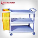 Small Size Plastic 3-tier Cleaning Room Food Service Collection Janitor Trolley with Cloth Bag