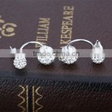 double sided faced Shambhala ball rhinestone zircon crystal beaded 925 sterling silver beautiful stud earring