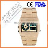 Bamboo wood watch ,Wooden watch & leather band watch