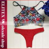 2017 Newest floral top red bottom sexy print wholesale swimwear CK340