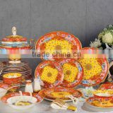 Chinese style traditionl red color flowers pattern 43pcs bone china dinnerware set