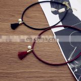 Fashion chocker necklaces black Leather thin choker necklace with tassel and pearl