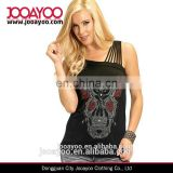 Sullen Angels Alex Black Red Sugar Skull Rose Tattoo One Shoulder Tank Top Vest