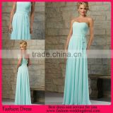 2015 New Arrival Long Blue Bridesmaid Dress Chiffon Ruched Bodice With Sash