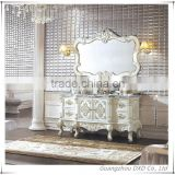 High End White Color European Style Antique Bathroom Furniture with double sink