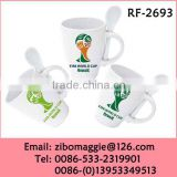 Wholesale White Porcelain Mug with Spoon for World Cup 2014 Coffee Mug